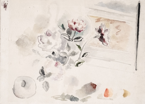Balthus (French, 1908-2001), Fleurs et Grenade, 1964    Watercolor and pencil on artist's cardboard 10 x 14 in. (25.4 x 35.6 cm)
