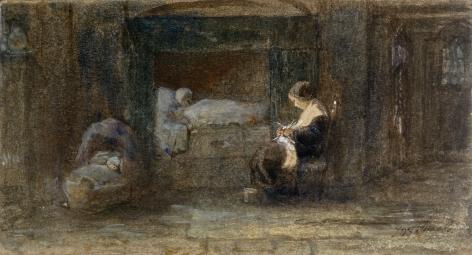 Josef Israels, The Sick Room, c. 1895  Watercolor on card 4 x 7 3/4 inches