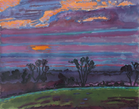 Graham Nickson, Three Trees Sunset, 1999, Watercolor on paper  14 x 18 inches