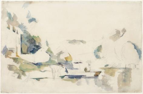 Paul Cèzanne  La Barque, Le Lac D'Annecy, 1896     Watercolor and pencil on paper 12 1/4 x 18 5/8 inches