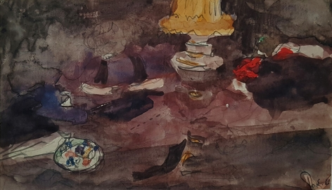 Edouard Vuillard, The Dinning Table at Valvins (La Table à Valvins), 1896, Watercolor over pencil on paper, 3 1/2 x 6 inches