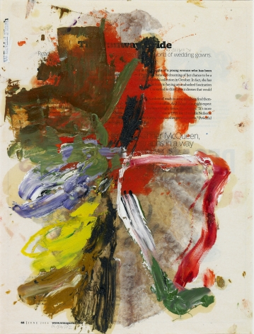 Untitled #39, 2012    Oil on printed paper 12 3/4 x 9 1/2 inches
