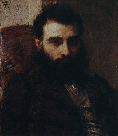 HENRI FANTIN-LATOUR French, 1836-1904 . Portrait d'homme, c. 1861     Oil on panel 7 1/4 x 6 5/16 in. (18.4 x 16 cm)