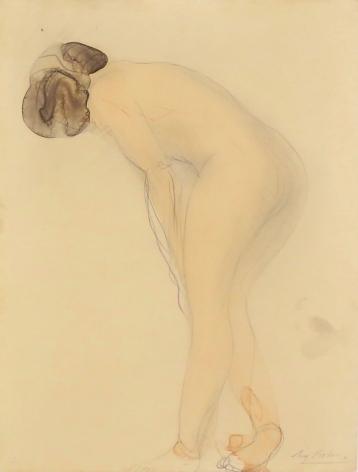 Auguste Rodin, Femme nu debout de profil à gauche, penchée en avant, c. 1900-1910