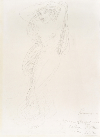 Auguste Rodin, Female Nude with Arms Raised Posed on a Pedestal, c. 1900, Graphite on wove paper 12 5/8 x 8 1/4 inches