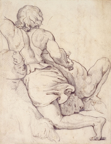 """Théodore Géricault, Struggling Warriors: Study after """"The Battle of Constantine"""" by Giulio Romano, c. 1813-1815    Pencil with pen and ink on paper 6 3/4 x 5 1/4 inches"""