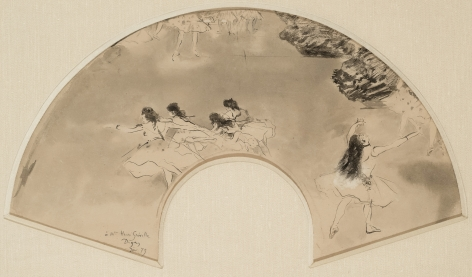 Edgar Degas, Study for fan with Scene from a Ballet, 1879, Scene at the Ballet, 1879  Brush and ink on paper 11 5/8 x 21 1/8 inches