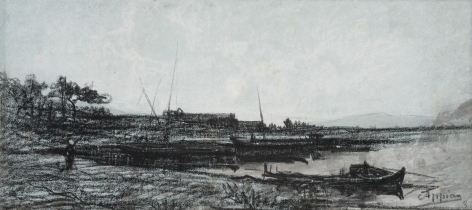 Adolphe Appian View of an Estuary near Martigues Black chalk on paper 6 1/4 x 14 1/8 inches