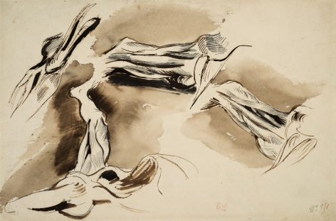 Eugene delacroix Studies of Flayed Leg and Arm Muscles    Pen and brown ink over traces of pencil and brown wash 8 x 12 1/8 inches