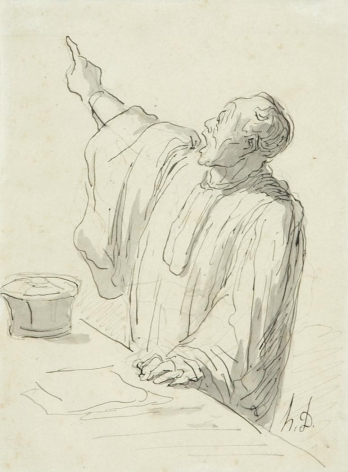 Honore Daumier, Un Avocat Plaidant, c. 1865-67, 7 13/16 x 5 13/16 inches, Signed with initials