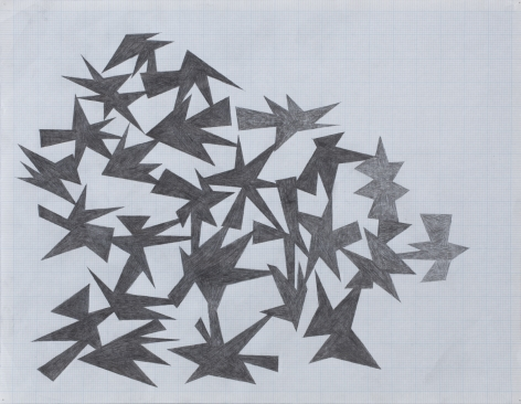 Enrico Riley  The Prehistory of Midnight, 2010  Graphite on graph paper  17 x 22 inches (43.2 x 55.9 cm)
