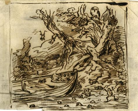 Charles F. Daubigny, Le botin amarré sous un arbre    Pen and ink on paper calque 4 15/16 x 6 3/16 inches