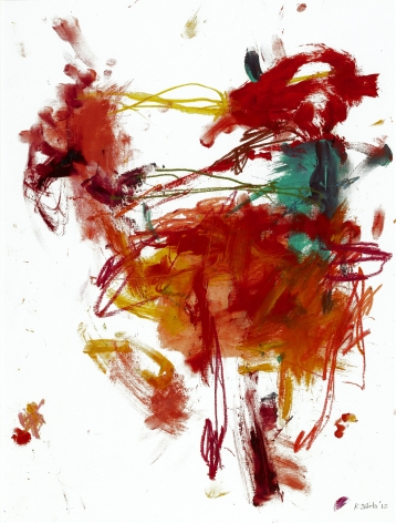 Kikuo Saito, Untitled #32, 2012    Oil, crayon and acrylic on paper 20 5/8 x 15 1/2 inches