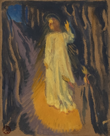 Maurice Denis Whoever Follows Me Does Not Walk in Darkness, c. 1903   Oil on cardboard 11 1/2 x 9 1/4 in. (29.5 x 23.7 cm)