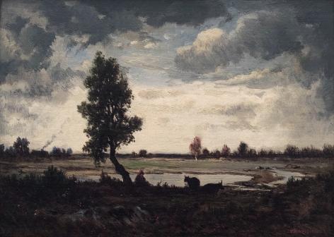 Theodore Rousseau, Effet de ciel sur la plaine, c. 1855  Oil on panel 8 1/2 x 11 7/8 inches