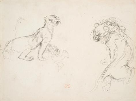 Eugène Delacroix, A Lion and a Lioness Pencil on paper 6 7/8 x 9 inches