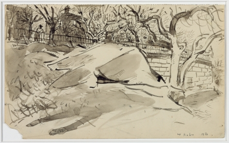 Wolf Kahn, Riverside Drive Park, 1950    Pen and ink with ink wash 5 1/4 x 8 1/2 inches