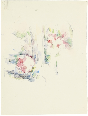 Paul Cèzanne, Tronc d'arbre et fleurs, c. 1900
