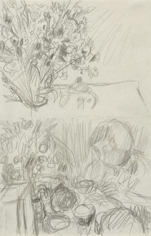 """Pierre Bonnard, Two Studies for """"Le Petit Déjeuner,"""" 1930-32 Pencil on paper 9 13/16 x 6 7/16 inches"""