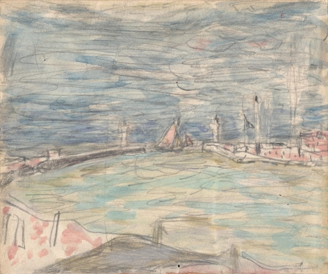 Pierre Bonnard Sailboats at the Entrance to the Port, c. 1925    Watercolor over pencil on paper 4 1⁄4 x 5 inches