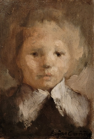 Eugène Carrière French, 1849-1906  Portrait of his son, Léon, c. 1885  Oil on board 6 1/2 x 4 1/2 in.