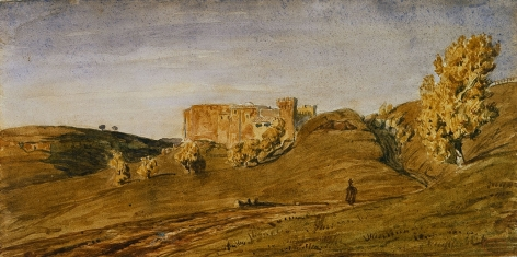 Paul Huet, Provincial Landscape (Campagne de Rome), Watercolor on paper 5 1/2 x 11 inches