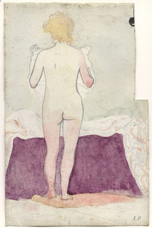 Edouard Vuillard, Nude seen from Behind, c. 1890,  Watercolor and pencil on paper 7 1/4 x 4 3/4 inches