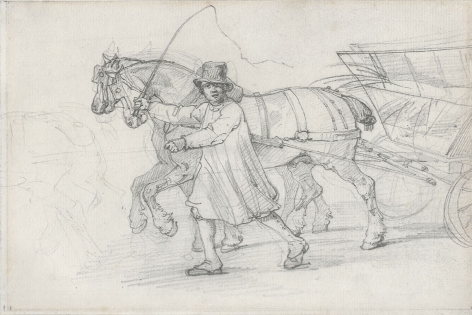 Théodore Géricault, A Peasant Leading a Horse-Drawn Straw Cart, c. 1820-21    Graphite on paper 6 1/4 x 8 5/8 inches