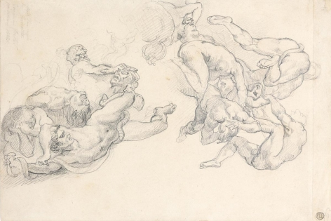 """Théodore Géricault, Studies after Rubens's """"Fall of the Damned,"""" 1818    Graphite on paper 8 1/8 x 11 1/4 inches"""