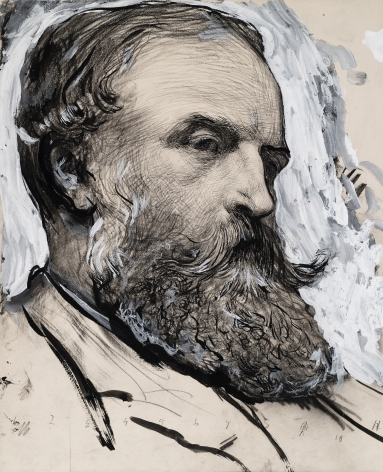 Sir Hubert von Herkomer  Head of a Bearded Man  Pencil and black ink, heightened with white and grey gouache on paper 10 3/4 x 8 5/8 inches