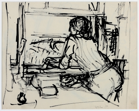 Wolf Kahn, Looking Toward the Ocean, 1954    Pen and ink 10 1/2 x 13 1/2 inches