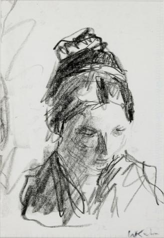 Wolf Kahn, Emily Gazing Downward, 1962    Pencil 7 1/2 x 5 1/2 inches