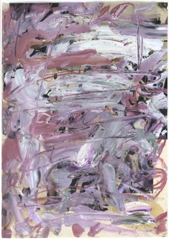 Kikuo Saito, Untitled, 1994,  Oil on printed paper, 13 3/4 x 10 1/8 inches