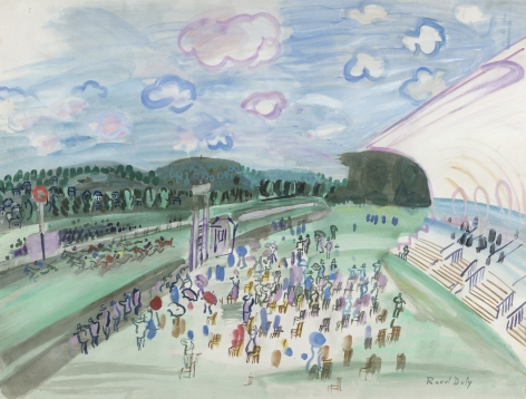 Raoul Dufy, Courses à Deauville, c. 1929, Gouache on paper 19 5/8 x 25 5/8 inches