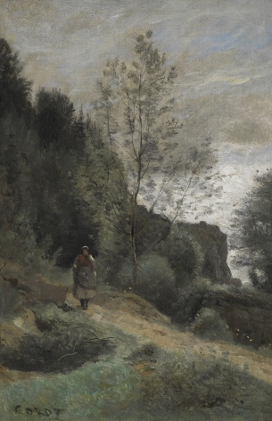 Jean Baptiste Camille Corot, Peasant on a Country Path, 1850-55    Oil on canvas 13 1/4 x 8 3/4 inches