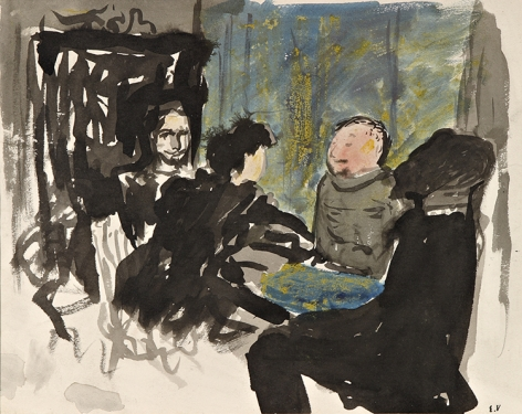 Edouard Vuillard  Groupe de personnages en conversation, c. 1896  Ink and watercolor on paper 9 3/8 x 11 3/8 inches