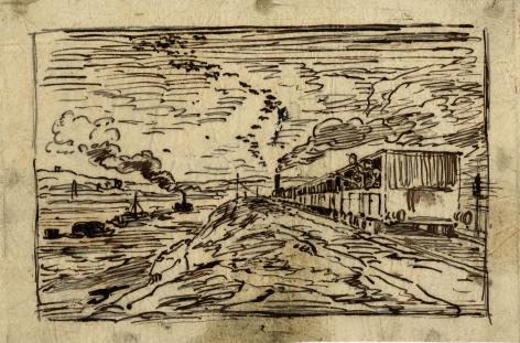 Charles F. Daubigny, Le départ (Le retour)    Pen and ink on papier calque 4 15/16 x 7 1/2 inches