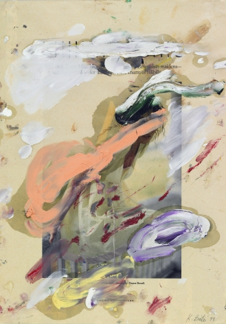 Kikuo Saito, Untitled #42, 1999    Oil on printed paper 14 x 10 inches
