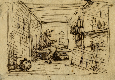 Charles F. Daubigny, Le Bateau Atelier    Pen and ink on paper calque 4 1/2 x 6 3/8 inches