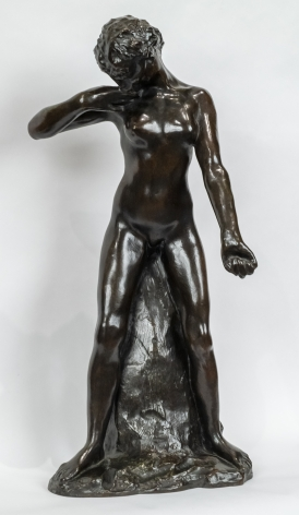 AUGUSTE RODIN French, 1840-1917 . Faunesse debout - version au rocher sample (Standing Fauness - simple rock version),  Conceived 1884, this cast 1956