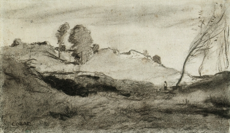 Landscape with Figure, c. 1850, Charcoal and brown crayon on paper