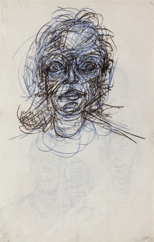 Alberto Giacometti Tete de femme (recto) / 4 visages (verso), c. 1962 Blue and black ball-point pen on paper 6 5/8 x 4 1/4 inches