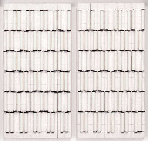 Liliya Lifanova, Untitled (rolled filter paper, black ink tips) diptych, 2012,  Filter paper, ink, gesso and pencil on boards  12 x 12 1/2 inches