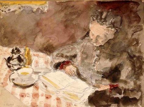 Edouard Vuillard  Grandmère lisant,  c. 1898-1900  Watercolor and pencil on paper 7 1/2 x 10 3/8 inches