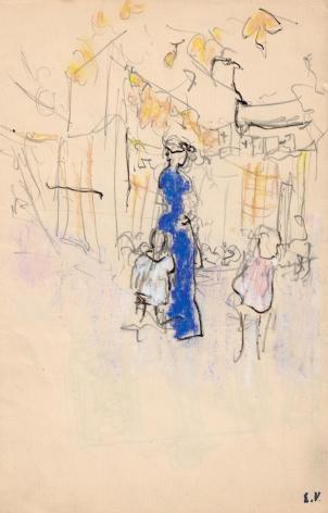 Edouard Vuillard, Lucie Hessel à La Montagne avec Annette et Jacques, 1903 Pastel and pencil on paper 7 3/8 x 5 inches