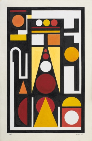Auguste Herbin, Clef, 1951    Gouache on paper 19 1/2 x 12 inches