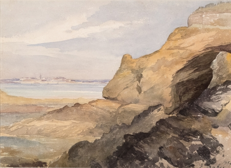 Eugene Isabey (French, 1803-1886),  Inlet Landscape, 1854 Watercolor with pencil on paper 9 5/8 x 13 1/8 in. (24.5 x 33.5 cm) Signed and dated lower right