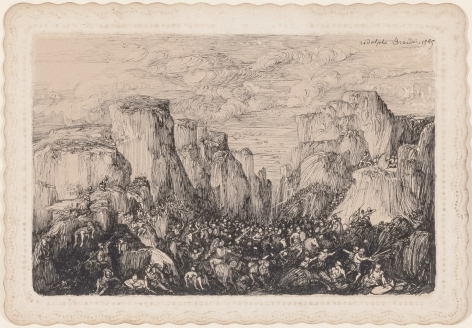 Rodolphe Bresdin (1822-1885) Bataille dans un paysage rocheux, 1865   Pen and China ink on Bristol paper with a dentile edge 4 1/8 x 5 7/8 inches