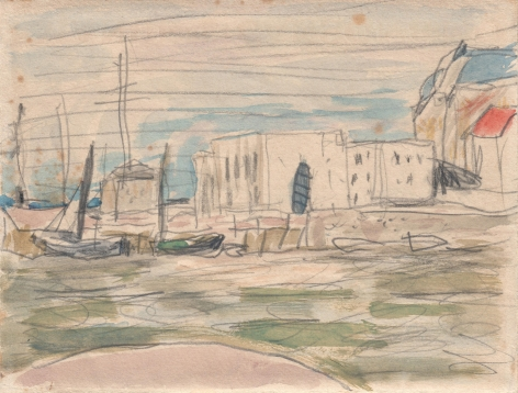 Pierre Bonnard, The Docks at Deauville Verso: Port Scene, 1925    Watercolor over pencil on paper 4 1/4 x 5 inches