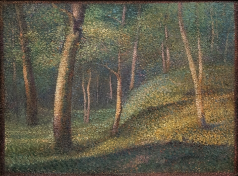 Hippolyte Petitjean French, 1854-1929 . Sous-bois, 1890-1894 Oil on board, laid on panel 11 5/8 x 15 5/8 in.